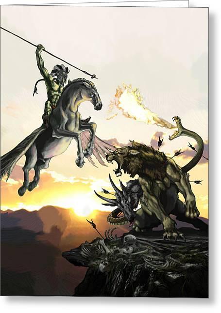 Pegasus Paintings Greeting Cards - Bellephron Slays Chimera Greeting Card by Matt Kedzierski