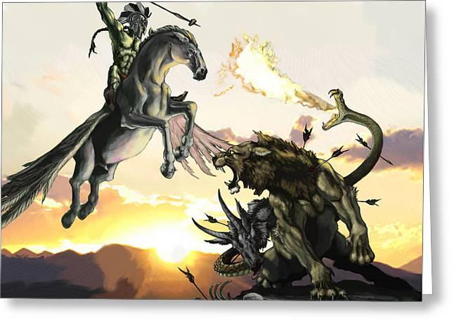 Mythology Greeting Cards - Bellephron Slays Chimera Greeting Card by Matt Kedzierski