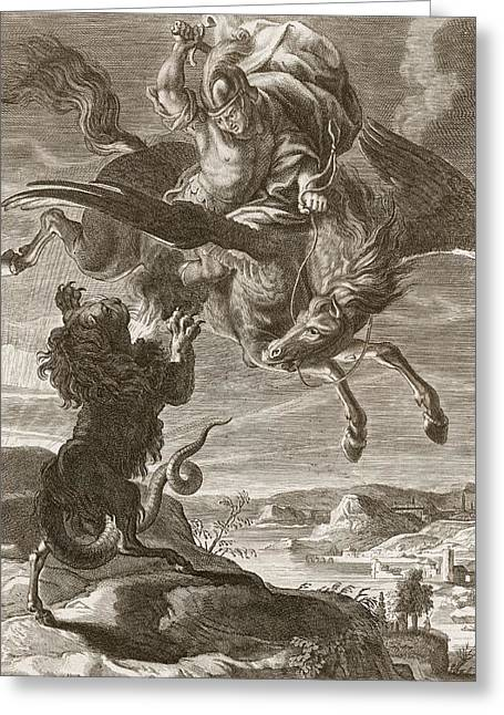 Swooping Drawings Greeting Cards - Bellerophon Fights The Chimaera, 1731 Greeting Card by Bernard Picart