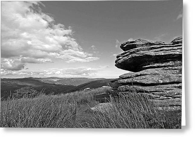 Bellever Tor Dartmoor In Black And White Greeting Card by Gill Billington