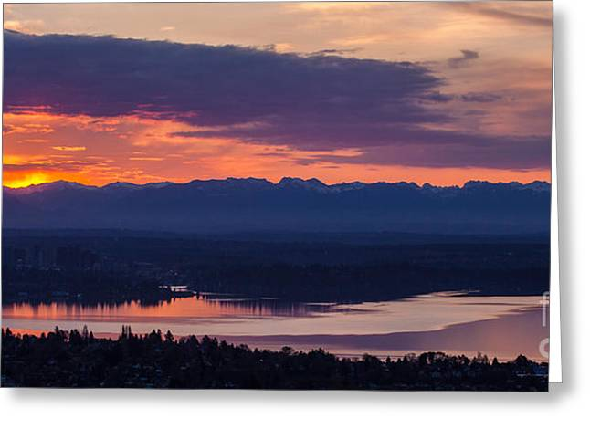 Bellevue Eastside Sunrise Greeting Card by Mike Reid