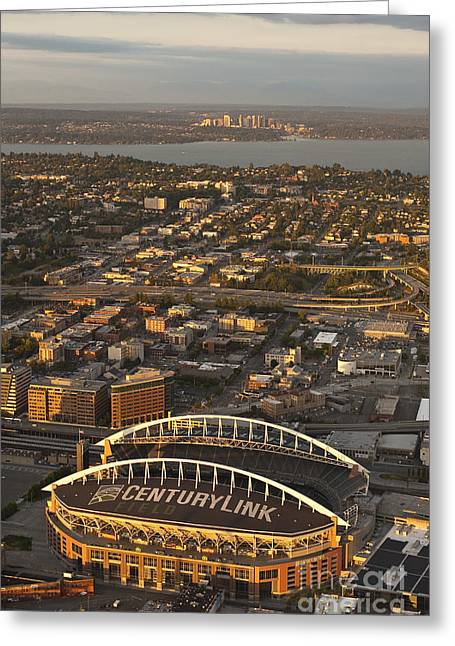 Bellevue Greeting Cards - Bellevue Skyline And Century Link Greeting Card by Jim Corwin