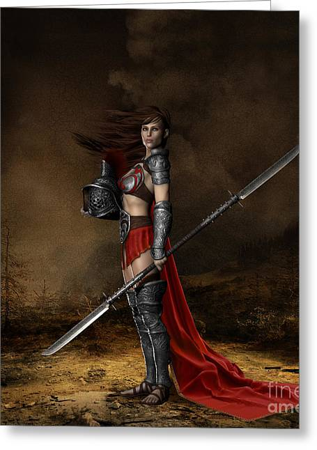 Courage Greeting Cards - Bellona Goddess of War Greeting Card by Shanina Conway