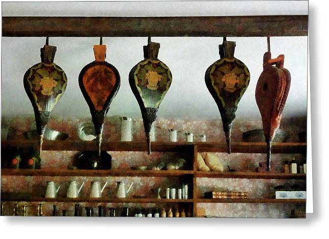 Books Greeting Cards - Bellows in General Store Greeting Card by Susan Savad