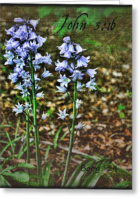 Bells In Blue Greeting Card by Larry Bishop