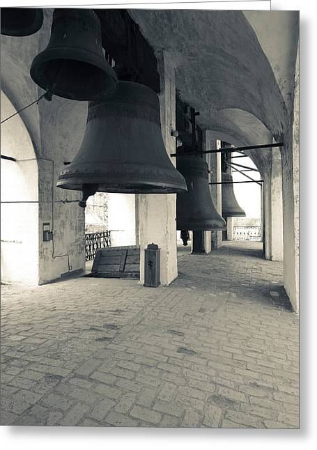 Golden Bell Greeting Cards - Bells In The Rostov Kremlin Bell Tower Greeting Card by Panoramic Images