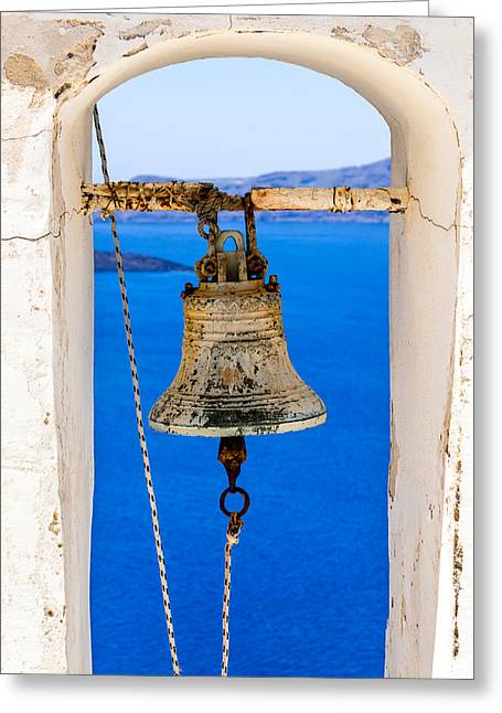 Perissa Greeting Cards - Bells of Santorini Greeting Card by Andrew Shore