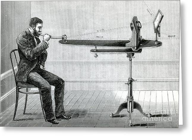 Historical Speech Greeting Cards - Bells Photophone Transmitter, 1880 Greeting Card by Science Source