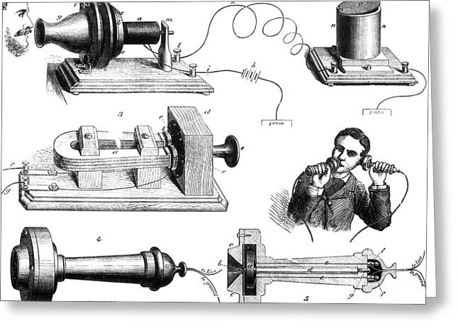 Breakthrough Greeting Cards - Bells Telephone System, 1877 Greeting Card by Science Source