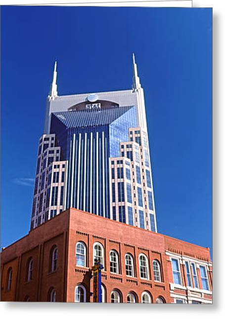 Nashville Panorama Greeting Cards - Bellsouth Building In Nashville Greeting Card by Panoramic Images