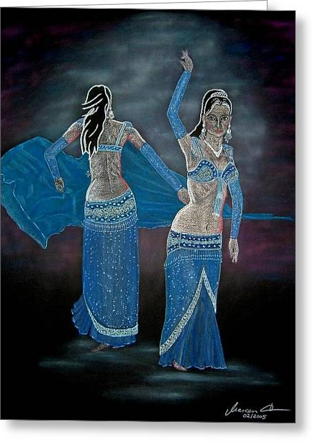 Veiled Pastels Greeting Cards - Belly Dance Greeting Card by Mareen Haschke