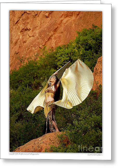 Tribal Belly Dance Greeting Cards - Belly dancer Mahisha with Isis wings Greeting Card by Cynthia Holling-Morris