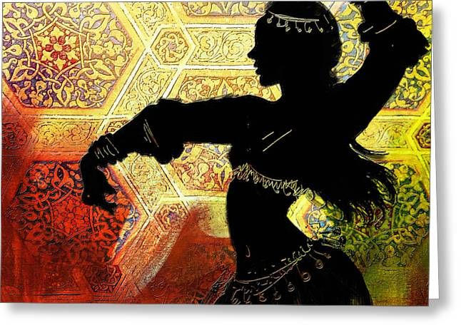 Dancer Art Greeting Cards - Abstract Belly Dancer 12 Greeting Card by Corporate Art Task Force