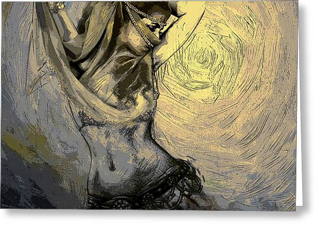 Dancer Art Greeting Cards - Abstract Belly Dancer 3B Greeting Card by Corporate Art Task Force