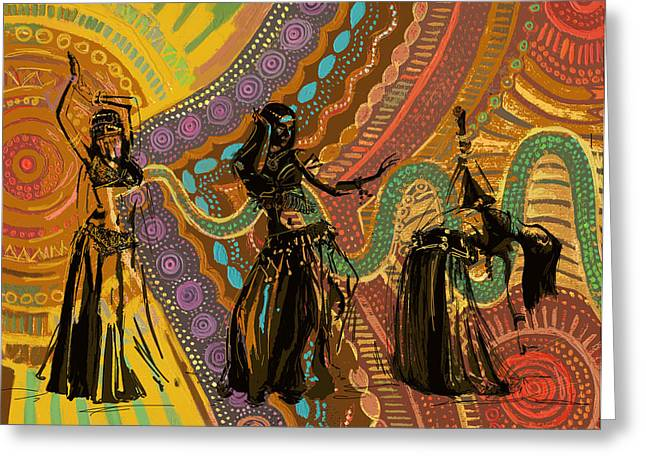 Belly Dance Greeting Cards - Belly Dancer Motifs and Patterns Greeting Card by Corporate Art Task Force