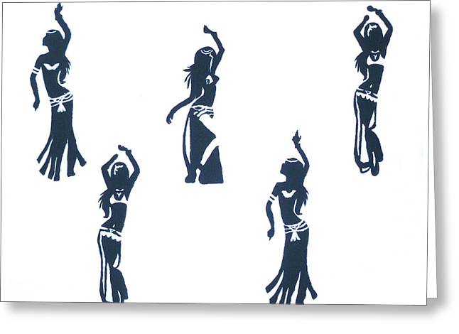 Shimmy Greeting Cards - Belly Dancers Greeting Card by D Freeman