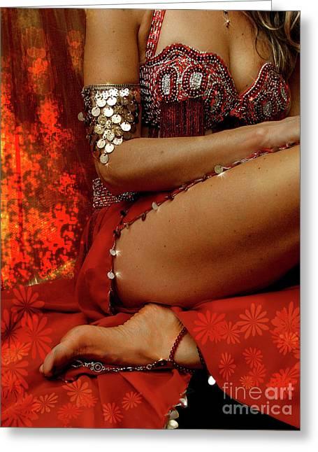 Bellydancer Greeting Cards - Bellydance glow Greeting Card by Chiara Costa