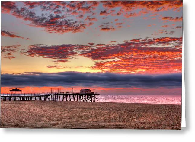 Recently Sold -  - Shed Greeting Cards - Belmar sunrise in New Jersey Greeting Card by Geraldine Scull