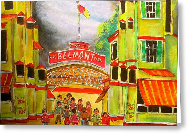 Belmont Park 1940's Montreal Memories Greeting Card by Michael Litvack