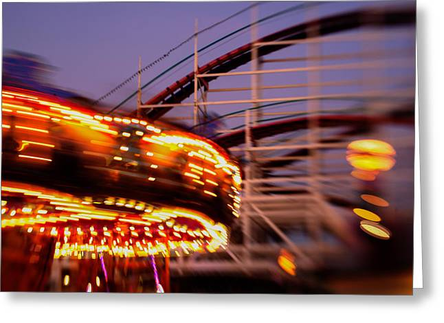 Did I Dream It Belmont Park Rollercoaster Greeting Card by Scott Campbell