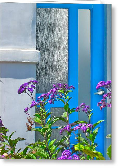Entryway Greeting Cards - Belmont Shore blue Greeting Card by Gwyn Newcombe