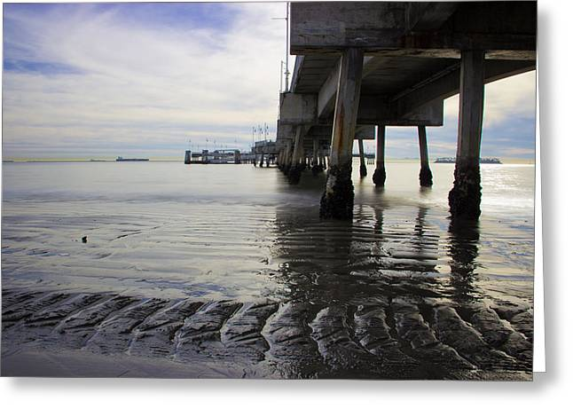 Surf Silhouette Greeting Cards - Belmont Veterans Memorial Pier Greeting Card by Heidi Smith
