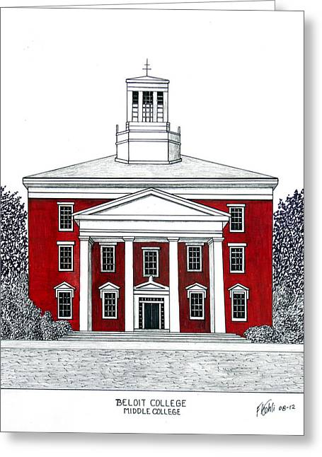 Pen And Ink Framed Prints Greeting Cards - Beloit College Greeting Card by Frederic Kohli