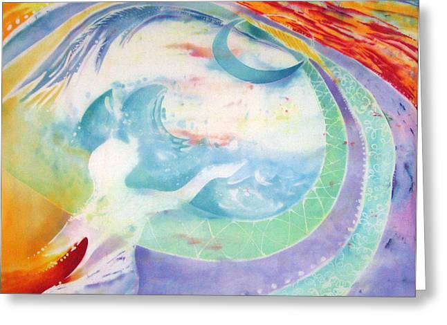 Water Flowing Tapestries - Textiles Greeting Cards - Beloved   Greeting Card by Anna Lisa Yoder