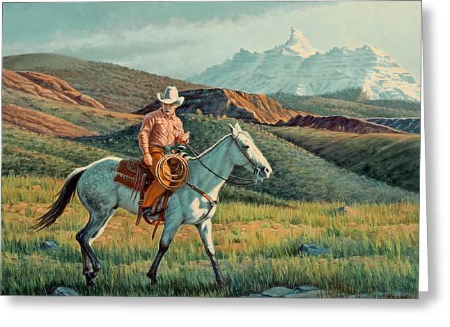 Wyoming Paintings Greeting Cards - Below Rams Horn   Greeting Card by Paul Krapf
