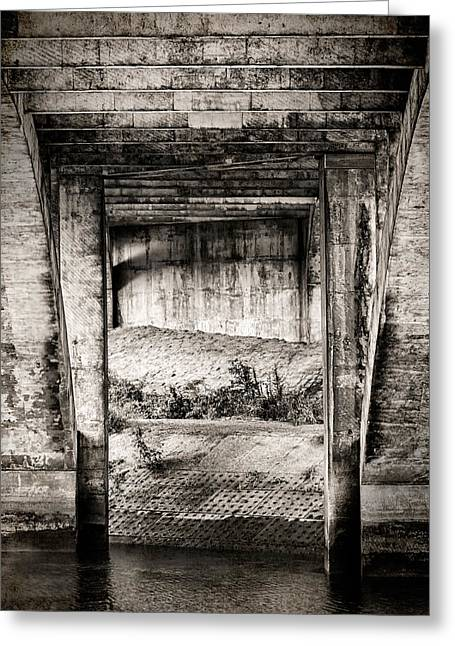 Bridge Greeting Cards - Below The Bridge Monochrome Greeting Card by Wim Lanclus