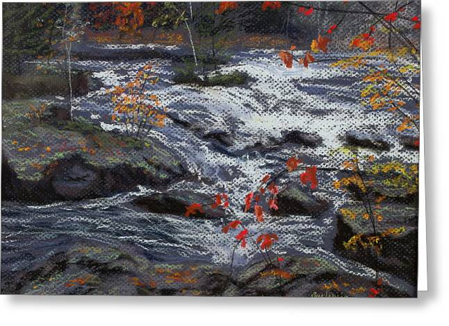 Rapids Pastels Greeting Cards - Below the Dam Greeting Card by Sue Lewis
