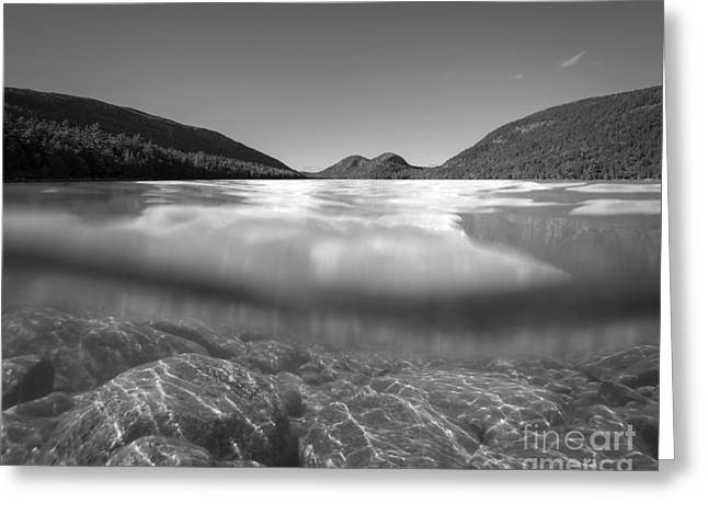 Go Pro Greeting Cards - Below The Surface of Jordan Pond bw Greeting Card by Michael Ver Sprill