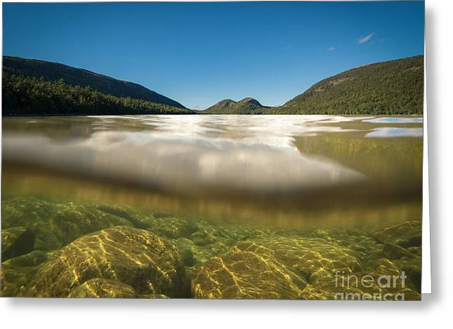 Go Pro Greeting Cards - Below The Surface of Jordan Pond Greeting Card by Michael Ver Sprill