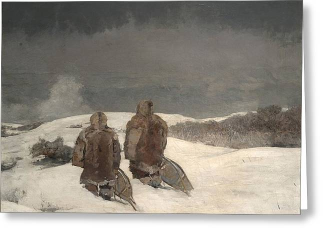 Winslow Homer Greeting Cards - Below Zero 1894 Greeting Card by Winslow Homer