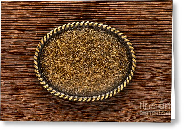 Barn Wood Greeting Cards - Belt Buckle Greeting Card by Olivier Le Queinec