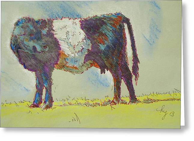 Belt Drawings Greeting Cards - Belted Galloway Cow Drawing Greeting Card by Mike Jory