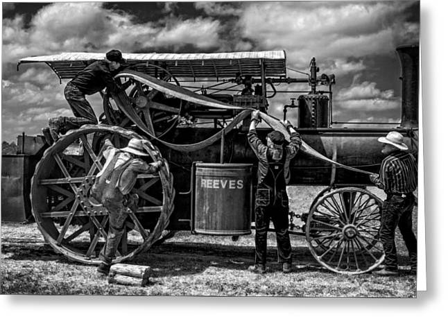 Steamer Truck Greeting Cards - Belting a Reeves v3 Greeting Card by F Leblanc
