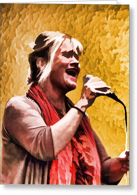 Mic Greeting Cards - Belting Out in Song Greeting Card by Linda Phelps