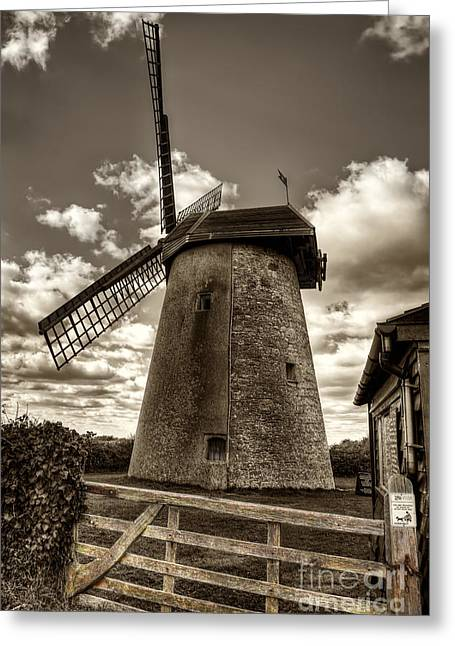 Manateevoyager Greeting Cards - Bembridge Windmill bw Greeting Card by English Landscapes