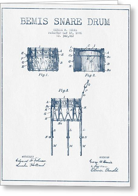 Drum Art Greeting Cards - Bemis Snare Drum Patent Drawing from 1886 - Blue Ink Greeting Card by Aged Pixel