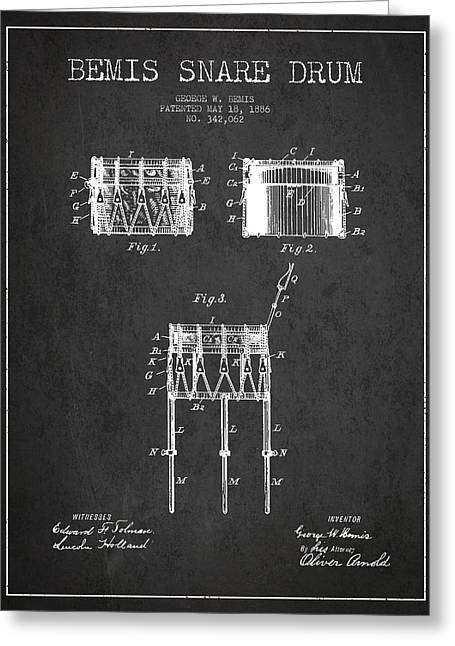 Snare Greeting Cards - Bemis Snare Drum Patent Drawing from 1886 - Dark Greeting Card by Aged Pixel