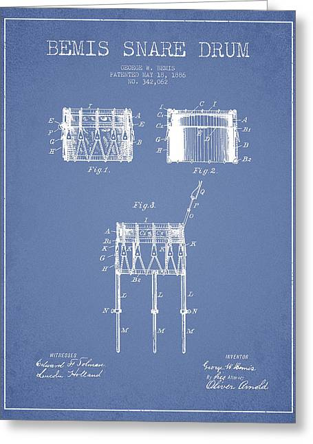 Snare Greeting Cards - Bemis Snare Drum Patent Drawing from 1886 - Light Blue Greeting Card by Aged Pixel