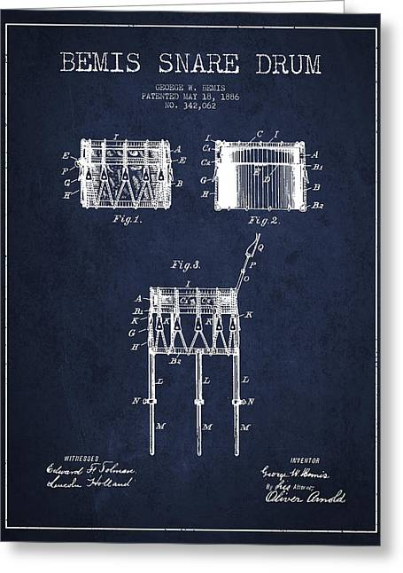 Snare Greeting Cards - Bemis Snare Drum Patent Drawing from 1886 - Navy Blue Greeting Card by Aged Pixel