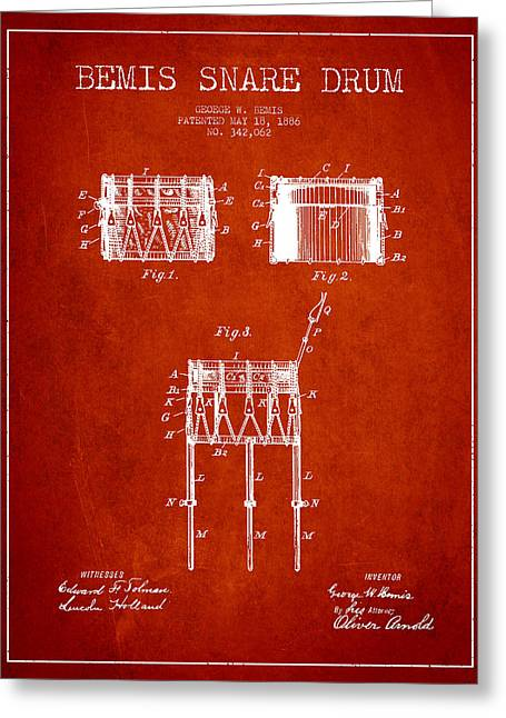 Snare Greeting Cards - Bemis Snare Drum Patent Drawing from 1886 - Red Greeting Card by Aged Pixel