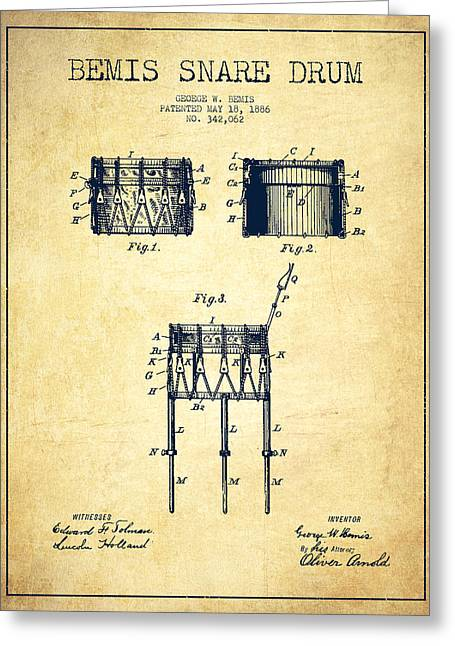 Snare Greeting Cards - Bemis Snare Drum Patent Drawing from 1886 - Vintage Greeting Card by Aged Pixel