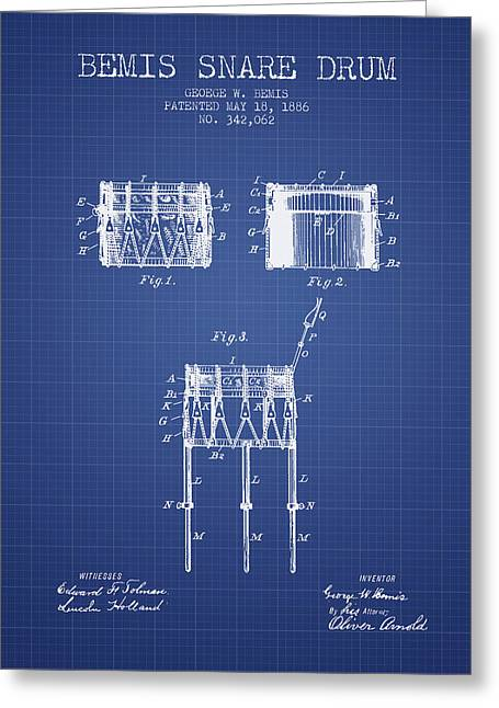 Snare Greeting Cards - Bemis Snare Drum Patent from 1886 - Blueprint Greeting Card by Aged Pixel