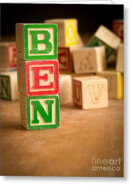 Spelling Greeting Cards - BEN - Alphabet Blocks Greeting Card by Edward Fielding