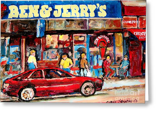 Montreal Restaurants Greeting Cards - Ben And Jerrys Ice Cream Parlor Greeting Card by Carole Spandau