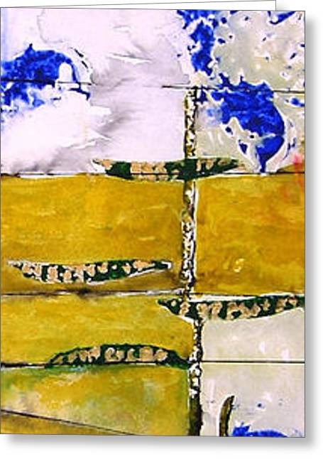 Gouache Mixed Media Greeting Cards - Ben and Jewel Panel 3 Greeting Card by Sandra Gail Teichmann-Hillesheim