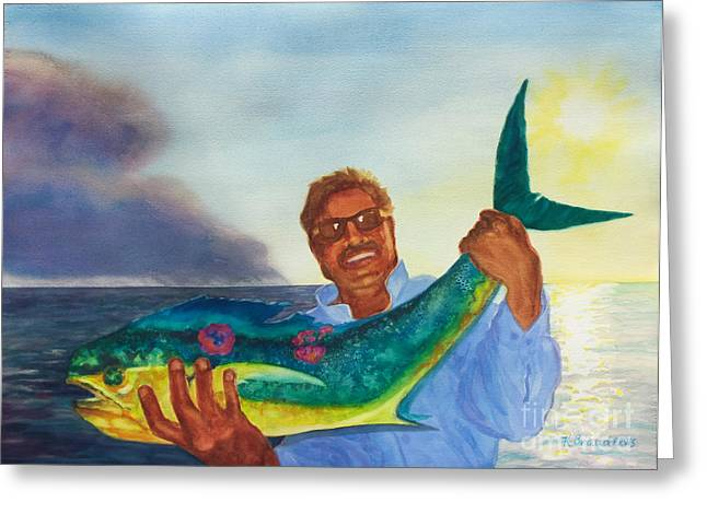 Ben and the Dolphin Fish Greeting Card by Kathy Braud